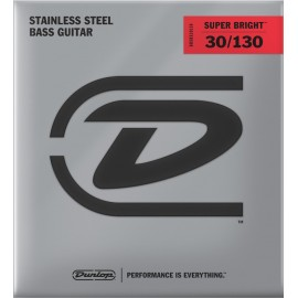 Dunlop 6 String Super Bright 30-130 Medium Stainless Steel Bass Guitar Strings DBSBS30130