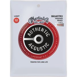 Martin 3 Set Pack Flexible Core SP 12-54 Light Phosphor Bronze Acoustic Guitar Strings MA540TPK3