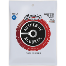 Martin 3 Set Pack Flexible Core SP 13-56 Medium Phosphor Bronze Acoustic Guitar Strings MA550TPK3