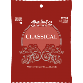 Martin Clear & Bronze Wound Classical 28-43 Ball End Regular Tension Classical Guitar Strings M260