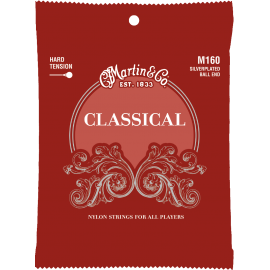 Martin Clear & Silver Plated Classical 28-43 Ball End Hard Tension Classical Guitar Strings M160