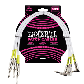 "Ernie Ball 3 Pack White 18"" Patch Cables P06056"