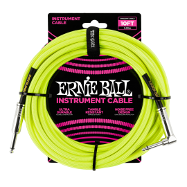 Ernie Ball Neon Yellow 10ft Braided Instrument Cable P06080