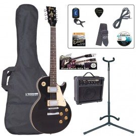 Encore Glass Black Les Paul Shape Guitar Blaster Pack