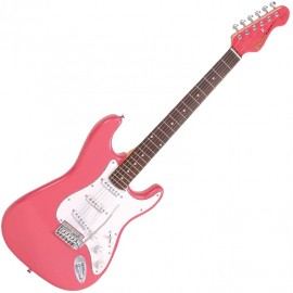 Encore Gloss Pink 3/4 Size Stratocaster Style Electric Guitar