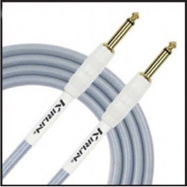 Kirlin 20ft Fabric Gel Guitar and Instrument Lead Cable str-str Jacks - BLUE