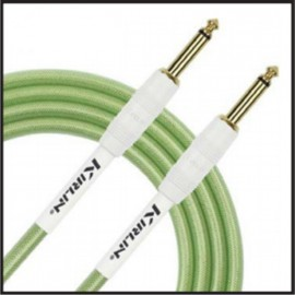 Kirlin 20ft Fabric Gel Guitar and Instrument Lead Cable str-str Jacks - GREEN