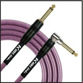 Kirlin 20ft Fabric Gel Guitar and Instrument Lead Cable str-ang Jacks - PURPLE