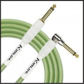 Kirlin 20ft Fabric Gel Guitar and Instrument Lead Cable str-ang Jacks - GREEN