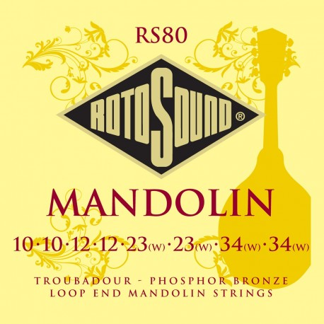 Rotosound RS80 'Troubadour' Phosphor Bronze Loop End Mandolin Strings 10 - 32