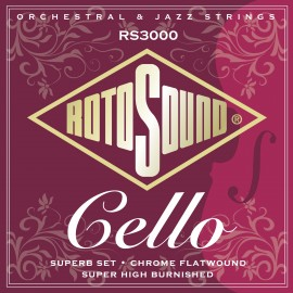 Rotosound  RS3000 'Superb Cello' Chrome Flatwound Cello Strings 22 - 63