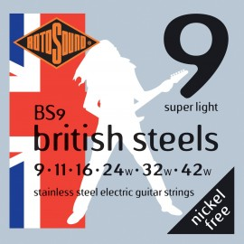 Rotosound BS9 'British Steels' Stainless Steel, Light Electric Guitar Strings 09 - 42