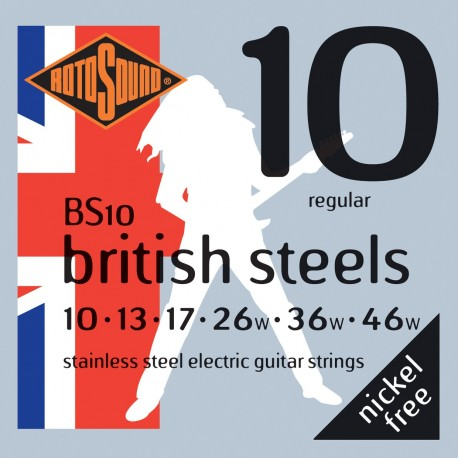 Rotosound BS10 'British Steels' Stainless Steel, Regular Electric Guitar Strings 10 - 46