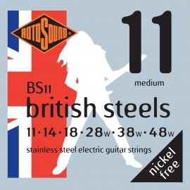 Rotosound BS11 'British Steels' Stainless Steel, Medium Electric Guitar Strings 11 - 48