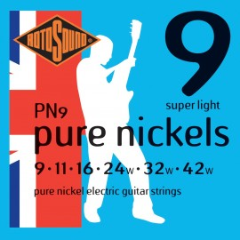 Rotosound PN9 'Pure Nickels' Pure Nickel, Super Light Electric Guitar Strings 09 - 42