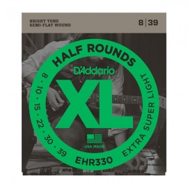D'Addario XL Half Rounds 08-39 Extra Super Light Ground Stainless Steel Electric Guitar Strings EHR330