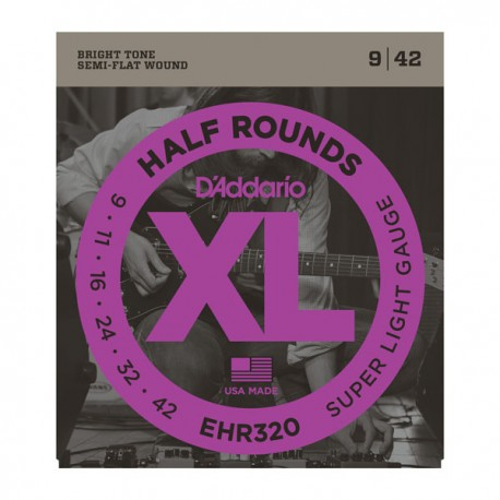 D'Addario XL Half Rounds 09-42 Super Light Ground Stainless Steel Electric Guitar Strings EHR320