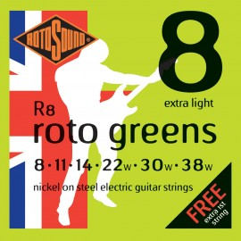 Rotosound R8 'Roto Greens' Nickel on Steel, Extra Light Electric Guitar Strings 08 - 38