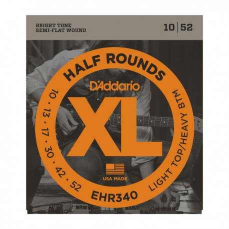 D'Addario XL Half Rounds 10-52 Light Top Heavy Bottom Ground Stainless Steel Electric Guitar Strings EHR340