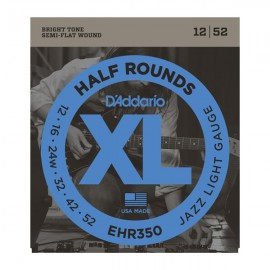 D'Addario XL Half Rounds 12-52 Jazz Light Ground Stainless Steel Electric Guitar Strings EHR350