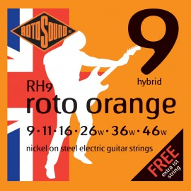 Rotosound RH9 'Roto Orange' Nickel on Steel, Hybrid Electric Guitar Strings 09 - 46