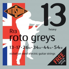 Rotosound R13 'Roto Greys' Nickel on Steel, Heavy Electric Guitar Strings 13 - 54