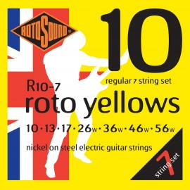 Rotosound R10-7 'Roto Yellows' Nickel on Steel, 7 String Regular Electric Guitar Strings 10 - 56