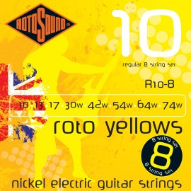 Rotosound R10-8 'Roto Yellows' Nickel on Steel, 8 String Regular Electric Guitar Strings 10 - 74