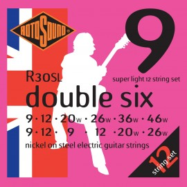 Rotosound R30SL 'Double Six' Nickel on Steel, 12 String Super Light Electric Guitar Strings 09 - 46