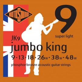 Rotosound JK9 'Jumbo King' Phosphor Bronze, Super Light Electric Guitar Strings 09 - 48
