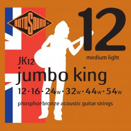 Rotosound JK12 'Jumbo King' Phosphor Bronze, Medium Light Acoustic Guitar Strings 12 - 54