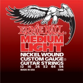 Ernie Ball Custom Gauge 12-54 (wound 3rd) Medium Light Nickel Wound  Electric Guitar Strings 2206