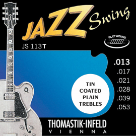 Thomastik-Infeld  Jazz Swing Flatwound 13-53 (Tin Plated Plain Strings) Electric Guitar Strings JS113T