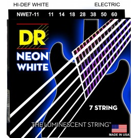 Dr Handmade 7 String Hi-Def NEON WHITE Coated 11-60 Extra Heavy Nickel Electric Guitar Strings NWE7-11