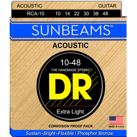 Dr Handmade Sunbeams 10-48 Ex-Light Phosphor Bronze Acoustic Guitar Strings RCA10