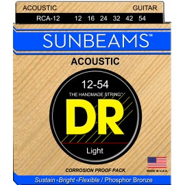 Dr Handmade Sunbeams 12-54 Light Phosphor Bronze Acoustic Guitar Strings RCA12