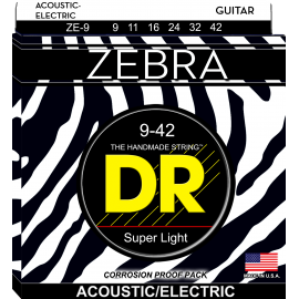 Dr Handmade Zebra 09-42 Extra Light Acoustic-Electric Guitar Strings ZE9