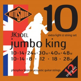 Rotosound JK30EL 12 String Jumbo King 10-48 Phosphor Bronze Acoustic Guitar Strings