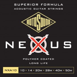 Rotosound NXA10 'Nexus Acoustic' Polymer Coated, Extra Light Acoustic Guitar Strings 10 - 50