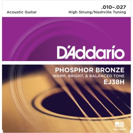 D'Addario Phosphor Bronze 10-27 High Strung/Nashville Tuning Acoustic Guitar Strings EJ38H