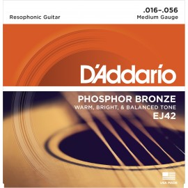 D'Addario Phosphor Bronze Resophonic 16-56 Resonator Guitar Strings EJ42