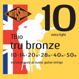 Rotosound TB10 'Tru Bronze' 80/20 Bronze, Extra Light Acoustic Guitar Strings 10 - 50