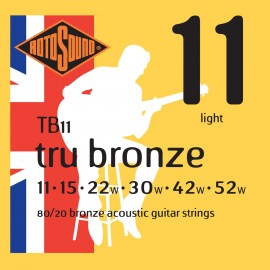 Rotosound TB11 'Tru Bronze' 80/20 Bronze, Light Acoustic Guitar Strings 11 - 52