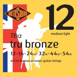 Rotosound TB12 'Tru Bronze' 80/20 Bronze, Medium Light Acoustic Guitar Strings 12 - 54