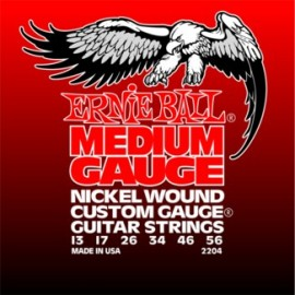 Ernie Ball 2204 Medium 13-56 Nickel Wound (wound 3rd) Custom Gauge Electric Guitar Strings