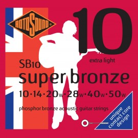 Rotosound SB10 'Super Bronze' Phosphor Bronze, Extra Light Acoustic Guitar Strings 10 - 50