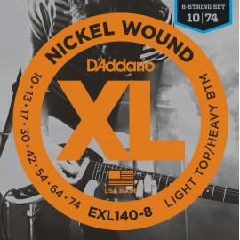 D'Addario 8 String XL Nickel Wound 10-74 Light Top Heavy Bottom Electric Guitar Strings EXL140-8