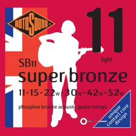 Rotosound SB11 'Super Bronze' Phosphor Bronze, Light Acoustic Guitar Strings 11 - 52