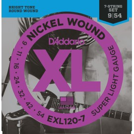 D'Addario 7 String XL Nickel Wound 09-54 Super Light Electric Guitar Strings EXL120-7