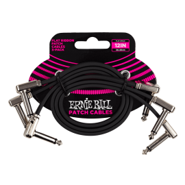 """Ernie Ball 3 Pack Flat Ribbon Black 12"""" Patch Cables P06222"""